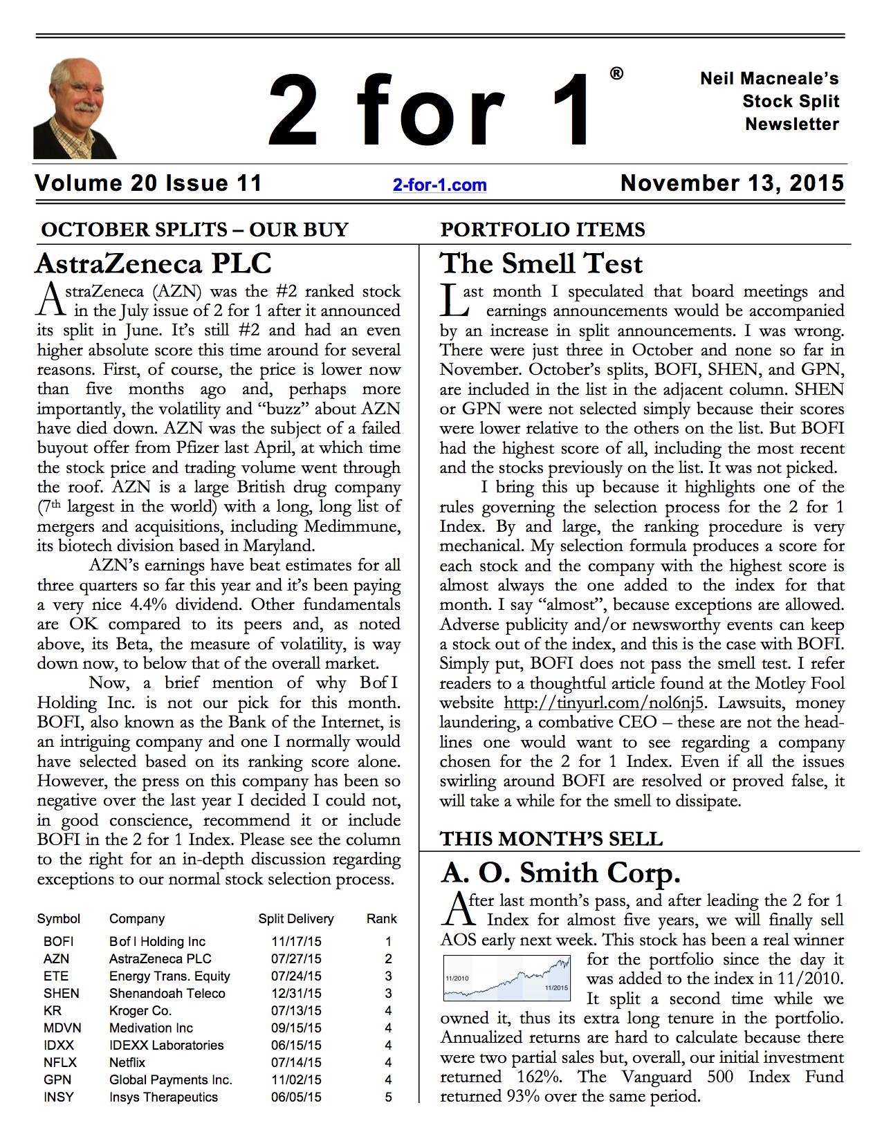 2 For 1 Stock Split Newsletter
